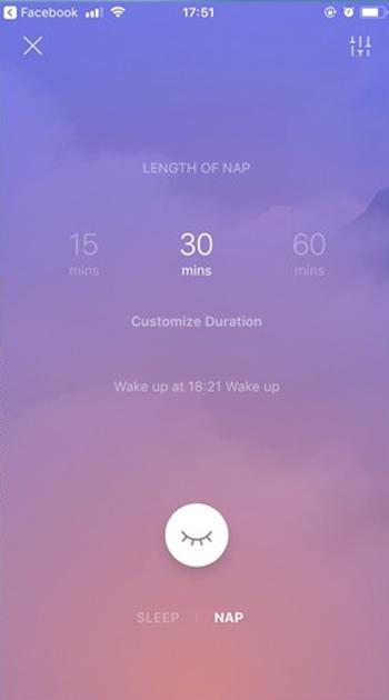 Ở chế độ Sleep người dùng có thể lựa chọn âm thanh và hình nền giúp bản thân thư giãn nhất