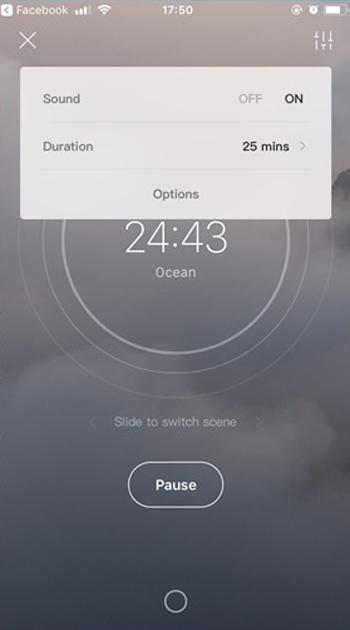 Bạn cũng có thể nhấn vào biểu tượng điều chỉnh ở trên bên phải giao diện để điều chỉnh thời gian ru ngủ và bật/tắt âm thanh