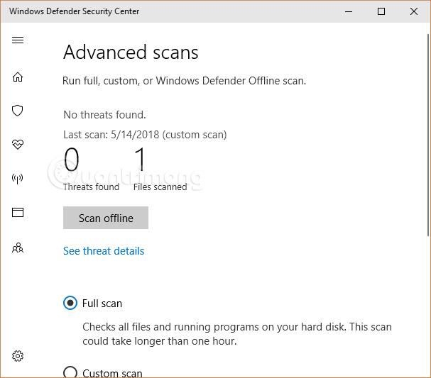 Quét tệp bằng Bộ bảo vệ Windows
