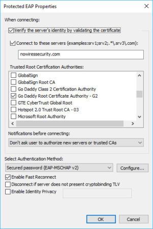 Tính năng xác thực máy chủ 802.1X trên Windows