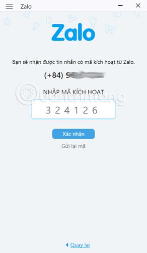 Nhập mã xác nhận số điện thoại cho tài khoản Zalo