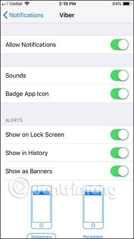 Tùy chỉnh thông báo ứng dụng