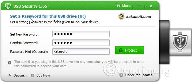 Nhập mật khẩu bảo vệ USB