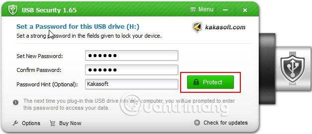 Click vào Protect