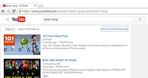 Tìm các video dài và ngắn trên Youtube