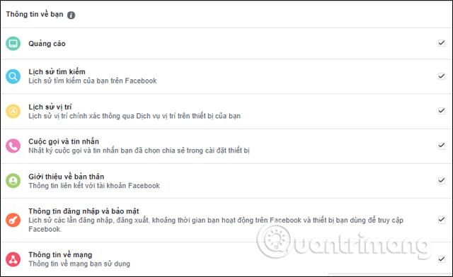 Thông tin Facebook về bạn