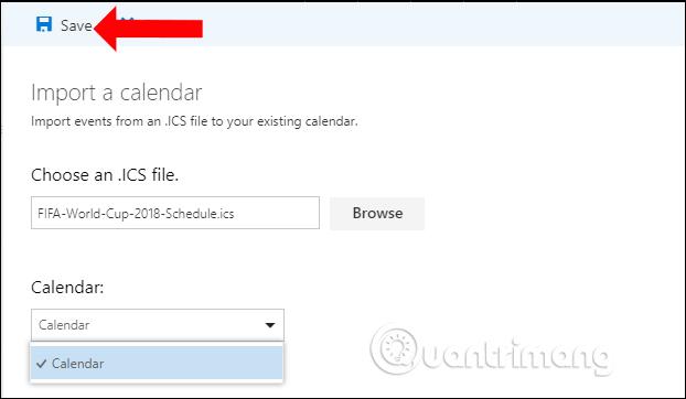 Lưu lịch trên Microsoft Calendar