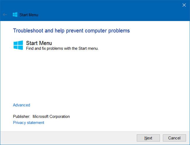 Start menu repair tool