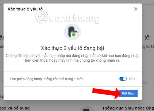 Thông báo bật xác thực 2 yếu tố Facebook
