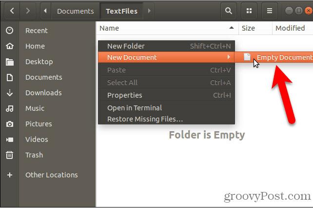 Dùng tài liệu trống tạo file text mới trong Linux