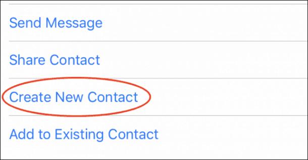 Chọn Create New Contact