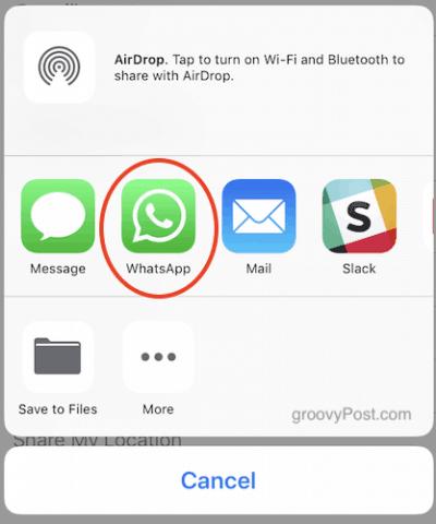 Chọn WhatsApp để chia sẻ số điện thoại qua ứng dụng này