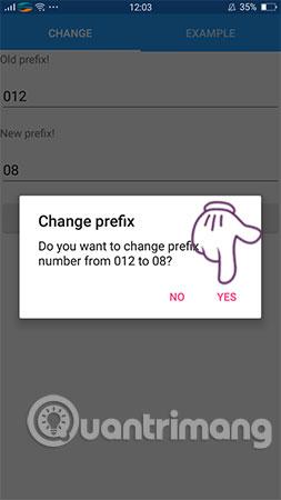 Chọn CHANGE và YES để thay đổi