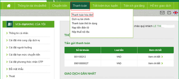 Hướng dẫn sử dụng Internet Banking Vietcombank (VCB iBanking)