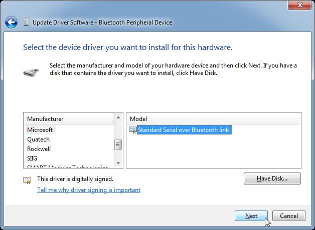 Chọn thiết bị Bluetooth