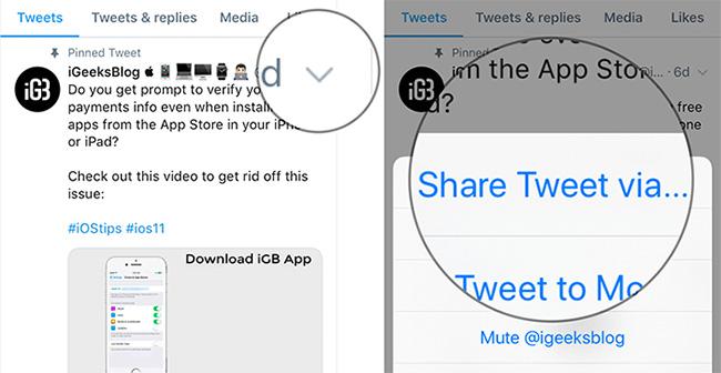 Nhấn vào mũi tên chỉ xuống và chọn Share Tweet via