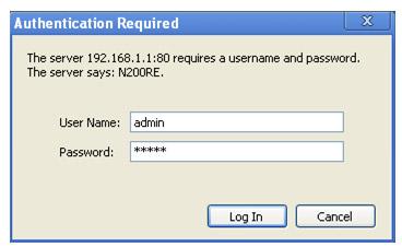 Kết nối với router bằng User và Password mặc định