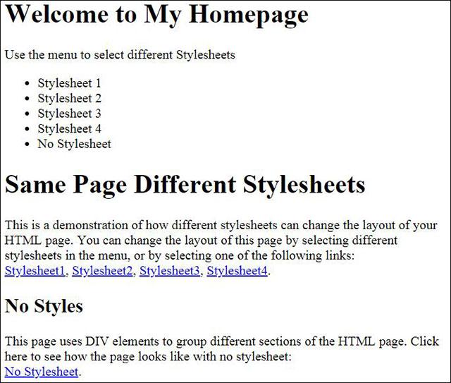 Trang HTML khi không dùng stylesheet