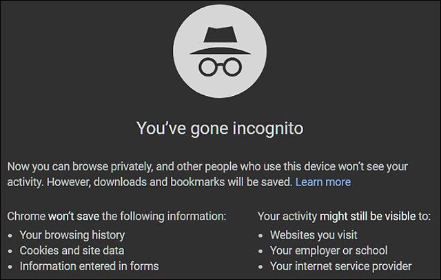 Duyệt web riêng tư không lưu lại lịch sử làm việc