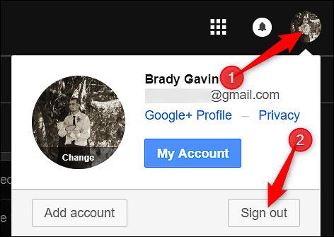 Đăng xuất tài khoản Gmail bằng cách click vào Sign Out