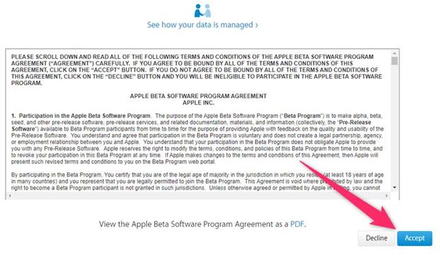 Chấp nhận điều khoản sử dụng phần mềm beta