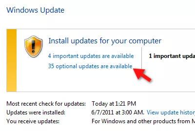 Windows Update optional Updates