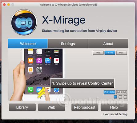 Giao diện X-Mirage trên máy tính
