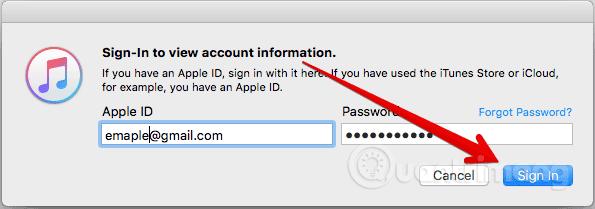 Nhập mật khẩu Apple ID
