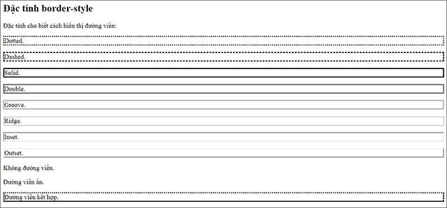 Hình ảnh hiển thị các kiểu đường viền nói trên