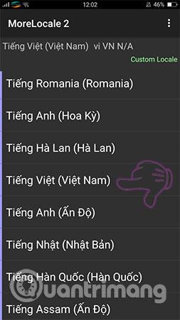 Chọn Tiếng Việt giống như hình dưới đây