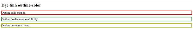 Ví dụ về màu sắc của outline trong CSS