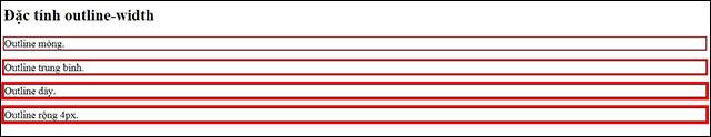 Đặc tính outline-width xác định độ rộng của outline
