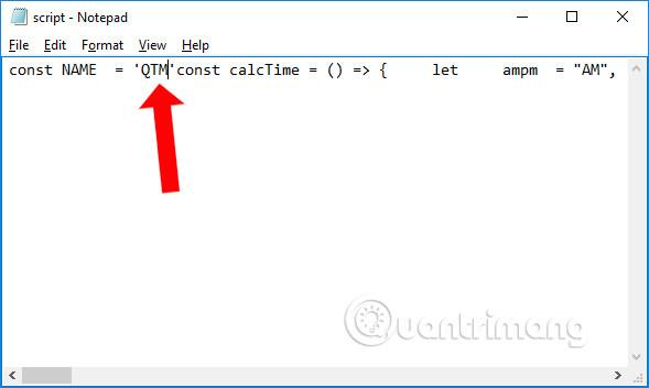Thay đổi tên trong file script