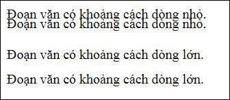 Ví dụ về khoảng cách giữa các dòng trong CSS