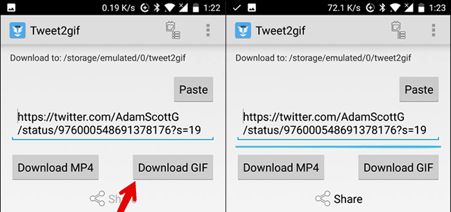 Chọn Download GIF để tải file về điện thoại