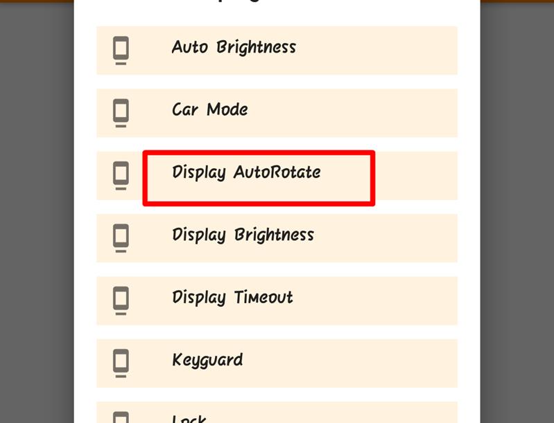 Chọn Display AutoRotate