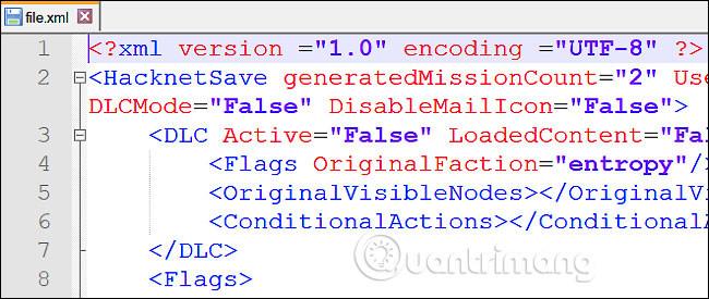 File XML được mở trong Notepad++