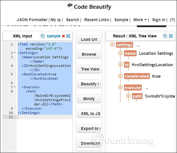 Trang web CodeBeautify.org