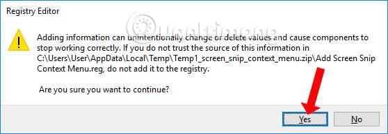 Đồng ý chạy file resgitry