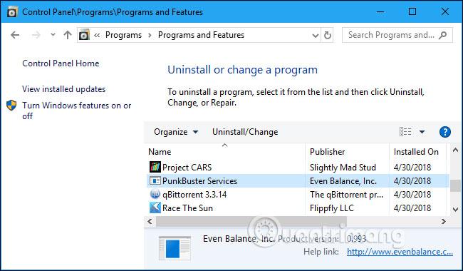 Click vào Uninstall/Change