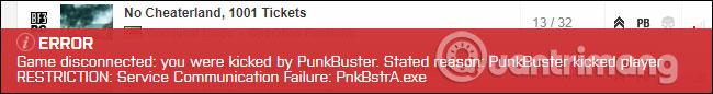 Trò chơi yêu cầu kích hoạt PunkBuster