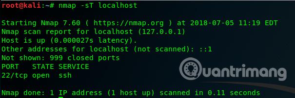 Sử dụng lệnh nmap -sU localhost
