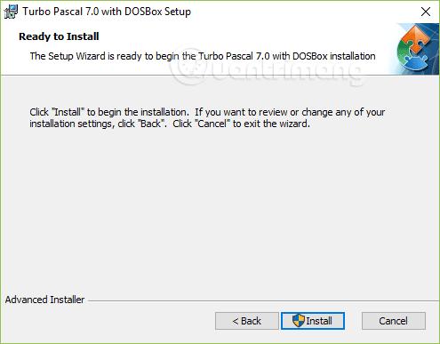 Nhấn Install để cài đặt Turbo Pascal