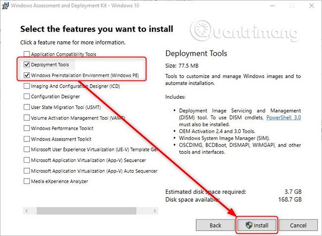 Cài đặt Windows 10 ADK