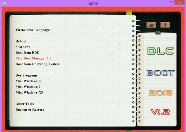 Giao diện QEMU trên UltimateBootUSB