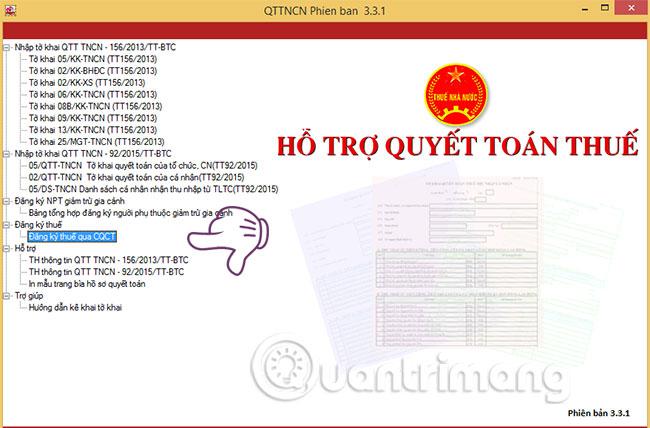 Chọn mục Đăng ký thuế qua CQCT