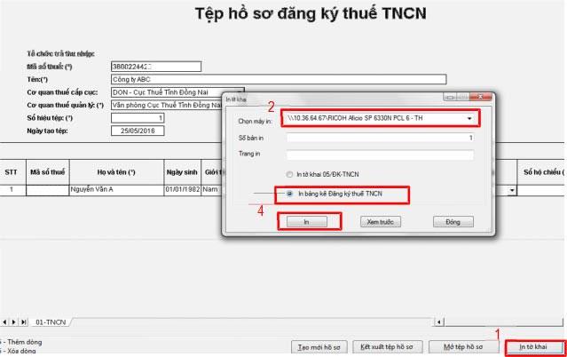 Chọn mục In bảng kê Đăng ký thuế TNCN