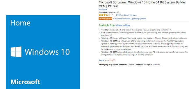 Mua Windows bản quyền trên Amazon