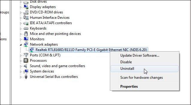 Delete the network card driver