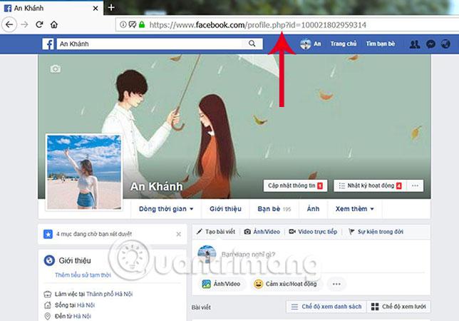 Sao chép đường link Facebook cá nhân của họ
